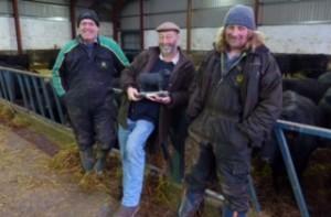 Macphie farm team Justin Amos, John Lohoar and Jim Airth with their trophy