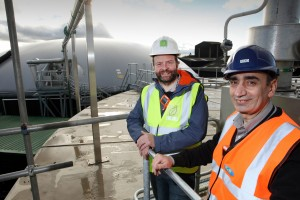 Photograph by © Simon Ryder. 16 December 2015. Phone: +44 (0)7887613716. Ryad Apasa – head of operations at R&R Ice Cream's Leeming Bar site (right), and James Thompson – head of operations at anaerobic digestion plant developer JFS Associates (left). From early 2015 around 30,000 tonnes of waste produced annually by R&R Ice Cream – some two-thirds of the total – will be taken to a nearby anaerobic digester, owned by Leeming Biogas Ltd. The ice cream waste will be used to produce biomethane which will be fed directly into the local gas network which in turn supplies R&R with gas for their CHP. The remaining waste will be used to enhance local agricultural land.