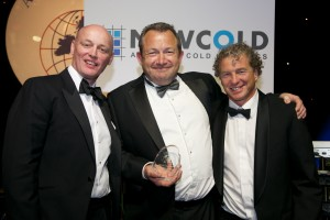 Peter Allan, BFFF President, Kevin Morel of Oliver James Foods and Bram Hage of NewCold (l-r)