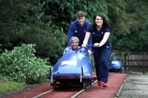 Ibrahim Najafi of R&R Ice Cream with George Johnston and Kelsea Purchall of the British Bobsleigh and Skeleton Association.