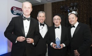 L-R Steve Irving (previously of DS Smith), Pete Ward, Young's CEO, Alan Spencer, Paul Broderick ( both DS Smith)